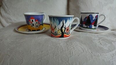 Wedgwood Clarice Cliff Limited Edition Assorted Coffee Cans and Saucers