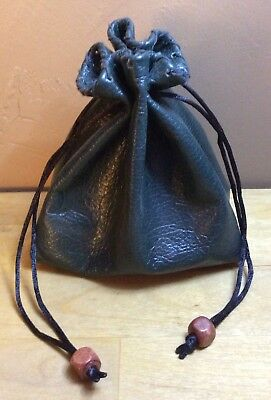 BOGO SALE~ New Handmade Green Genuine Leather Drawstring, Dice Bag, Coin Pouch