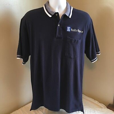 Outer Banks Rolls-Royce Golf Polo Shirt Large Blue Embroidered Logo Free Ship!