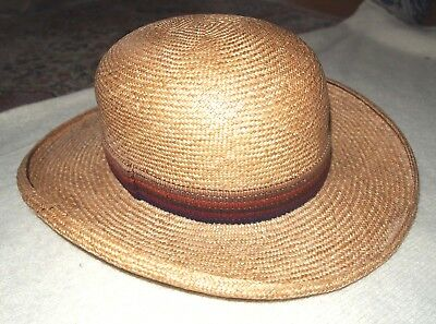 Vtg Gelot Paris France French Straw Panama Hat with Multi Colored Band