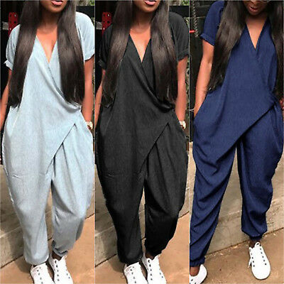 Women Short Sleeve Long Baggy Summer Jumpsuit Loose Playsuit Harem Pants Trouser