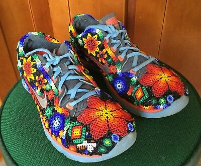 Native Huichol Indian hand beaded Sneakers, Shoes Size 40, Beaded Art