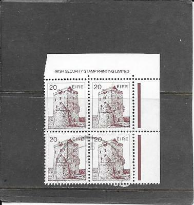 "STAMPS: IRELAND 1980s  ""ARCHITECTURE"" DEFINITIVE'S 20p CORNER BLOCK OF4 (F/USED)"