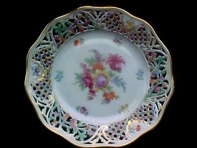 """Nice Reticulated Schumann """"Chateau Dresden Flowers"""" Plate 9-3/8"""""""