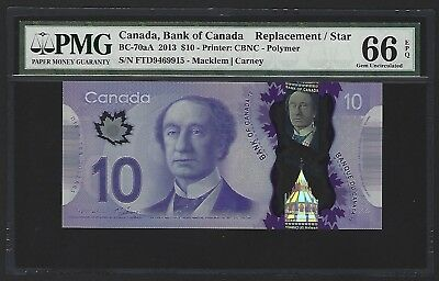 2013 Canada $10 Dollars REPLACEMENT, PMG 66 EPQ GEM UNC, BC-70Aa, Macklem/Carney