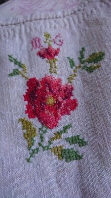 DIVINE ANTIQUE FRENCH EMBROIDERED LINEN TROUSSEAU CHEMISE c1850 UNUSED
