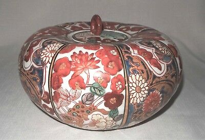 """Antique Signed Japanese Lidded Bowl Floral with Dragons 9"""" Diameter Hand Painted"""