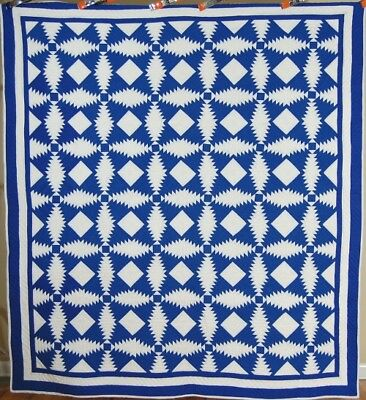 Vintage 30's Blue & White Windmill Blades Pineapple Log Cabin Antique Quilt ~WOW