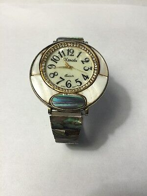 Vintage Xanadu Mother Of Pearl Large Face Ladies Watch * FULL MOTHER OF PEARL