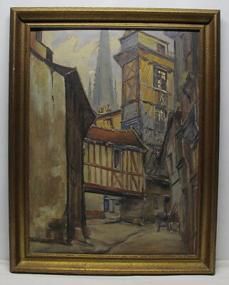 Antique ORIGINAL Early 1900's Continental Oil/Board Street Scene Painting #1 yqz