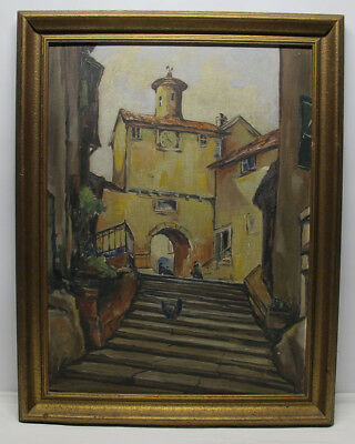 Antique ORIGINAL Early 1900's Continental Oil/Board Street Scene Painting #2 yqz