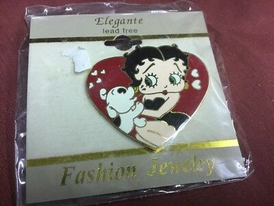 BETTY BOOP Heart Pudgy Dog Black Dress Pin Gold Plate Enamel NEW Carded