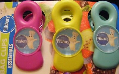 3X PILLSBURY DOUGHBOY Magnetic Refrigerator Clips Note Holder Magnet Chip Bags