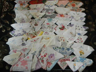 Vintage Lot of 67 Floral, Embroidered, Crocheted  Hankies Handkerchiefs