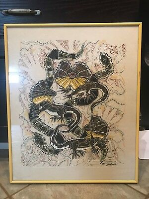 ABORIGINAL ART PRINT ON CLOTH  DANNY EASTWOOD,Three Lizards Teasing Two Snakes