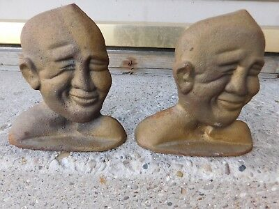 Vintage Pair Of Cast Iron Knute Rockne Bookends Notre Dame Football Coach
