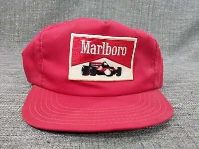 Vintage MARLBORO F1 Indy Car Racing 80s USA PATCH Red Hat Cap Snapback Tobacco