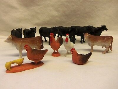 Lot of 12 New Ray Ltd. PLASTIC FARM ANIMALS....ROOSTER..HENS...COWS
