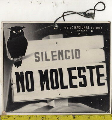 vintage Hotel Nacional De Cuba Habana Silencio No Moleste Do Not Disturb Sign