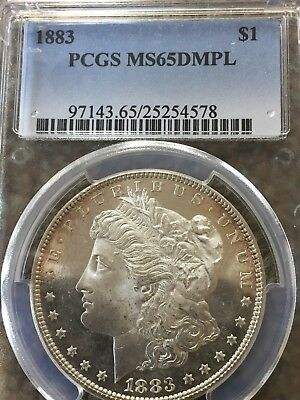 1883 Morgan Silver Dollar PCGS MS65DMPL Deep Mirror Proof Like