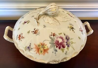 DRESDEN GOLD PAINTED FLOWERS SERVING CASSEROLE DISH & LID TUREEN CHINA C1800s