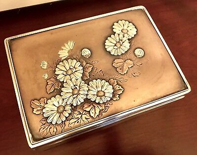 Japanese Meiji Mixed Metal ~ Sterling Silver Wood Jewelry Cigarette Box Antique