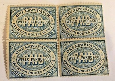 4 Wells Fargo One Newspaper PAID over our routes in the U.S. Genuine Stamp NICE!