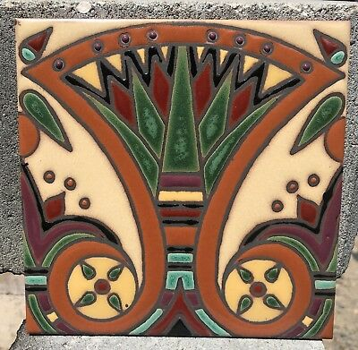 Hand-Painted 6x6 Art Deco Egyptian Tile Stair Risers, Hearths, Fountains, Floors