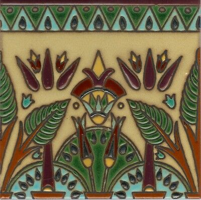 Gorgeous Hand-Painted 6x6 Art Deco Egyptian Inspired Decorative Tiles.