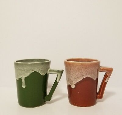 Vintage Pair of Hand Made Dripping Glaze Ceramic Pottery Mugs