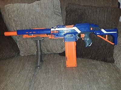 NERF N-Strike Elite Stryfe Blaster 18 dart clip, barrel stock tripod WORKS