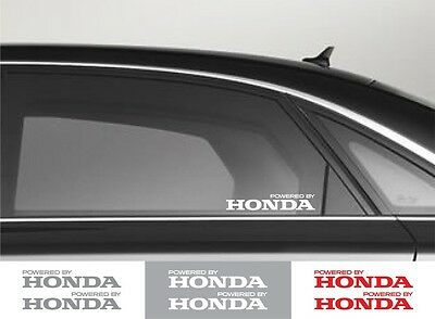 2pcs Powered by HONDA Window Vinyl Decal Sticker Emblem Logo Graphic Racing