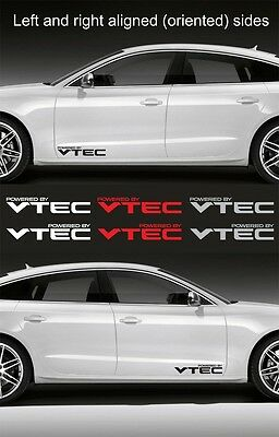 "2pcs Powered by VTEC 15"" wide Vinyl Decal Logo Sticker Emblem Graphic HONDA"