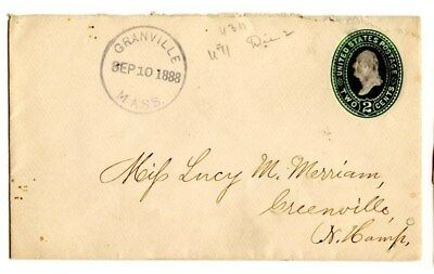 MA-MASS=GRANVILLE-CDS Cxl w/Date in Straight Line in Ctr-2c Entire Cover-1888