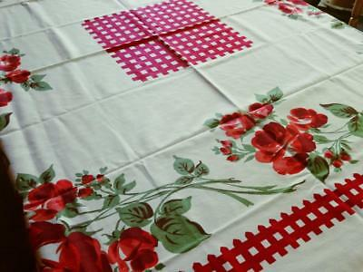 "VTG MCM Shabby Red Roses Cottage Chic Printed Cotton Tablecloth NWT 54"" Square"