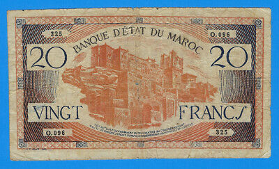 1943 Morocco 20 Vingt Francs Note P-39 World Currency