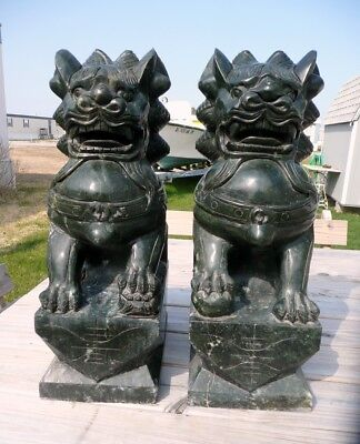 Vintage Large Green stone Foo Dogs Pair, Quality Carvings, 2 ft Tall, 100 Lbs ea