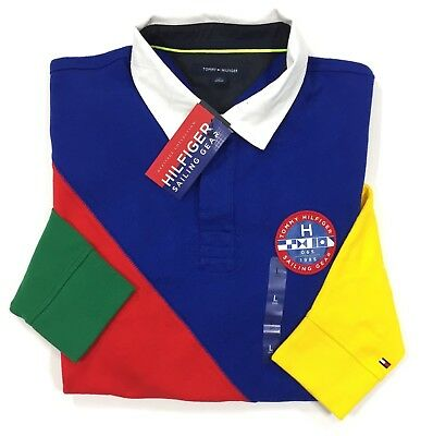 c1db1617fc1 New Tommy Hilfiger Sailing Gear Long Sleeve Polo Rugby Shirt Colorblock S M  L XL