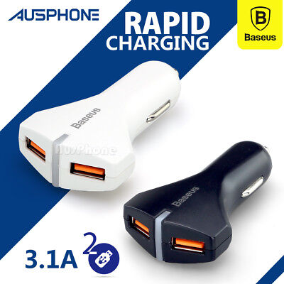 3.1A Fast USB Car Charger Power Adapter Cigarette Lighter Socket iPhone Samsung