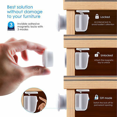 New 10pcs Magnetic Cabinet Drawer Cupboard Locks for Baby Kids Safety Proofing