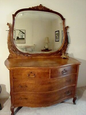 GORGEOUS ANTIQUE 19th CENT. FRENCH DRESSER WITH ATTACHED ORNATE MIRROR ON WHEELS