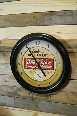 Early Logo Dr Pepper Cola Wall Clock Large 13 inch Non Ticking Sweep Hand Glass