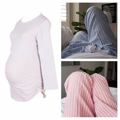 Maternity Pyjamas | Nursing Breastfeeding Winter Pyjama Set Pink Blue Sleepwear