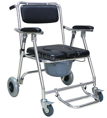Adult Mobile Commode Chair 4 brakes Wheels Footrests Wheelchair Toilet Aluminum