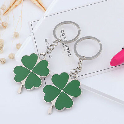 New 2pcs Creative Green Four-leaf Clover Fortune Keychain Key Chain Ring Key