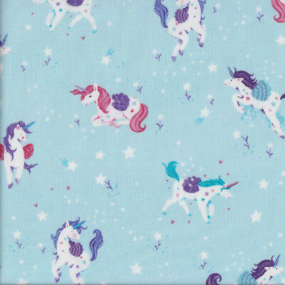 Pretty Unicorns on Light Blue with Stars Girls Quilting Fabric FQ or Metre *New*