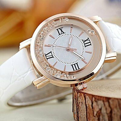 Women Watches Thin Leather Strap Ladies Casual Quartz Watch With Rhinestone WW