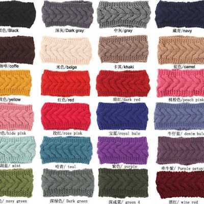 Winter Candy Color Womens Knitted Crochet Knitted Woolen Turban Headband  Gift