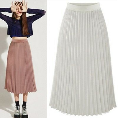 New Retro Women Sheer Double Layer Pleated Long Maxi Dress Elastic Waist Skirt