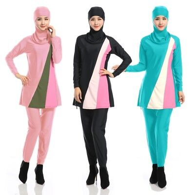 New Women Soft Modesty Muslim Swimwear Full Cover Islamic Beachwear Swimsuit Set